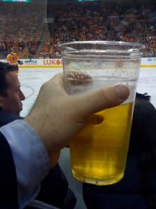 This was me sitting on the ice at a Flyers / Jets game, toasting a Molson Canadian to Antonin Pribetic. Tickets courtesy of Adam Green.